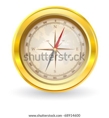 Golden Compass - stock vector