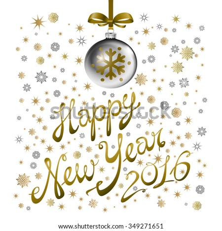 Golden confetti falls on the background. Ball with gzhel and khokhloma texture. Happy new year 2016. Holiday card. Template for your design. Vector illustration. art - stock vector