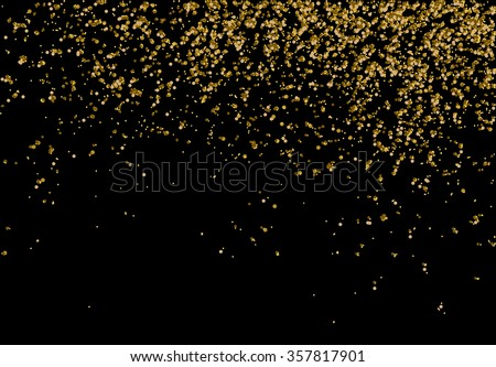 Golden confetti - Gold glitter texture on a black background - Golden grainy abstract texture  - Small particles falling - stock vector