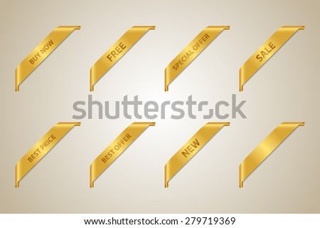 Golden Corner Ribbon Set (Best Offer - Sale - Fee - Best Price - Buy Now - New - Special Offer) - Vector Design Element - stock vector