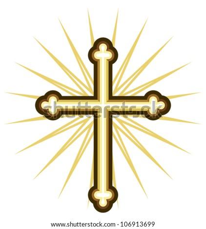 Golden cross - stock vector