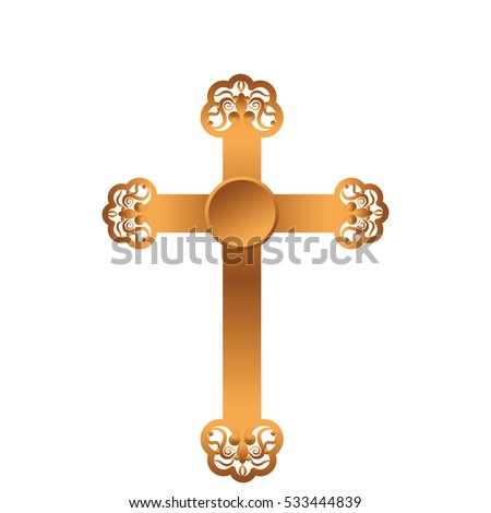 golden cross isolated icon