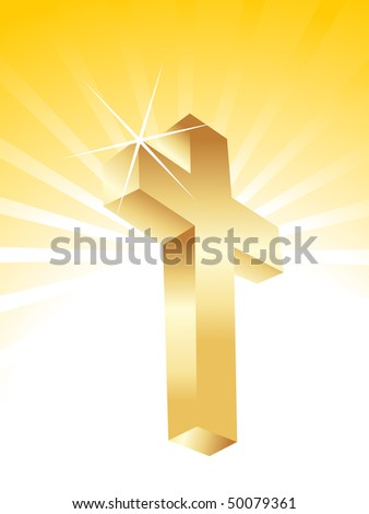 Golden cross isolated on white background - stock vector