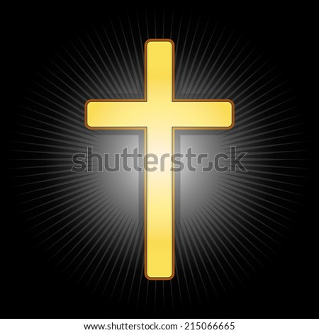 Golden cross, symbol of the Christian faith on a black glowing background. Vector illustration, eps 10. - stock vector