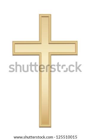 Golden cross. Vector - stock vector
