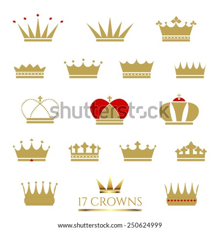 Golden Crown icon set. Crown vector illustrations. Business sign, corporate identity or product labeling element templates. Simple & detailed Crown icons. Vector design is layered & editable. - stock vector