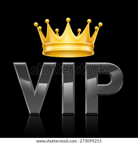 Golden crown on the acronym VIP on a black background - stock vector
