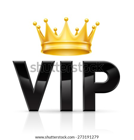 Golden crown on the acronym VIP on a white background - stock vector
