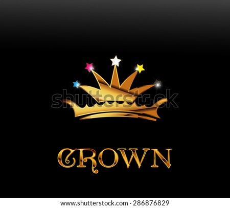Golden crown, vector - stock vector