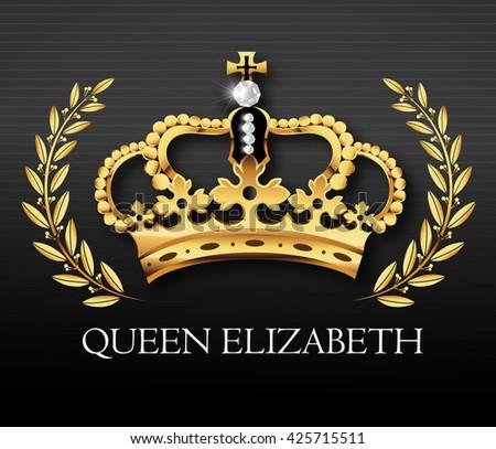 Golden crown with Queen Elizabeth text , vector - stock vector