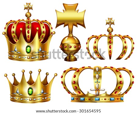 Golden crowns with different designs - stock vector