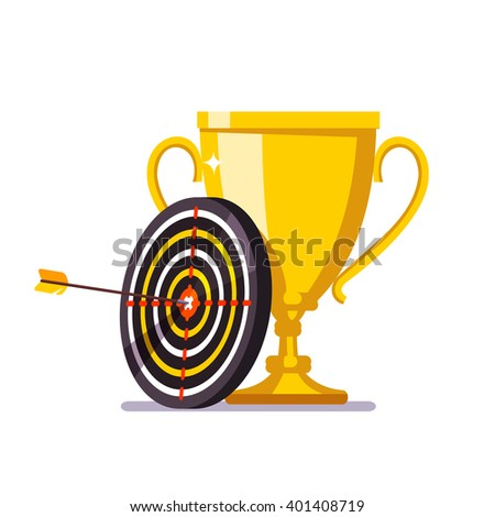 Golden cup trophy with arrow hitting in the target center. Achievement metaphor. Flat style vector illustration. - stock vector