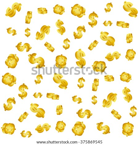 Golden 3D currency pattern. Vector illustration - stock vector