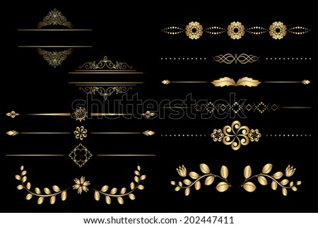 golden design elements with gradient - vector - stock vector