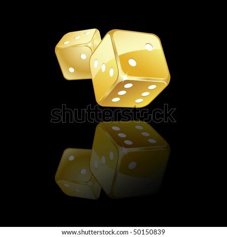 Golden dices reflection - stock vector