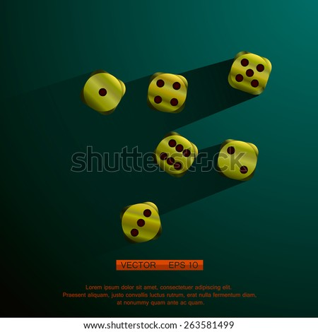 Golden Dices with red splashes, on a green table - stock vector