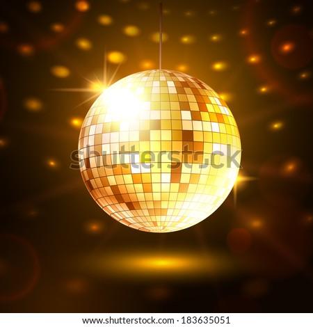 Golden disco ball. Vector illustration. - stock vector