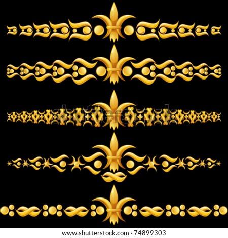 Golden dividers with fleur-de-lis - stock vector