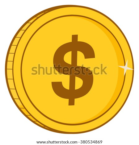 Golden Dollar Coin For Business And Finance Concepts. Vector Illustration Isolated On White Background - stock vector