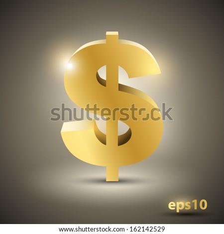 Golden dollar sign. Vector illustration  - stock vector