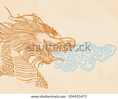 Golden dragon statue in Thailand style. Vector illustration. - stock vector
