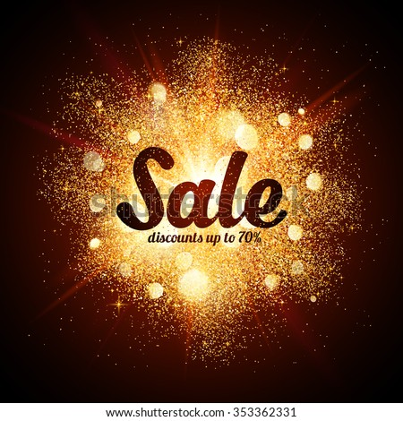 Golden dust vector explosion with Sale sign - stock vector