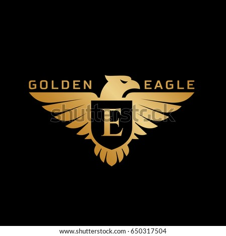 Golden Eagle Logo Template Design Shield 스톡 벡터(사용료 없음 ...