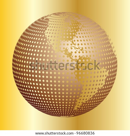 Golden earth - stock vector