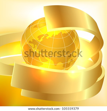 Golden Earth background - stock vector