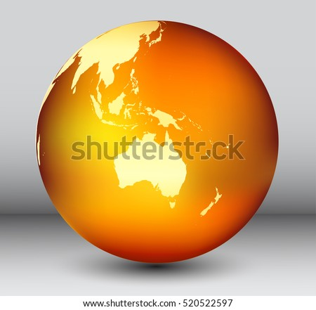 golden earth globe with map of australiavector globe icon