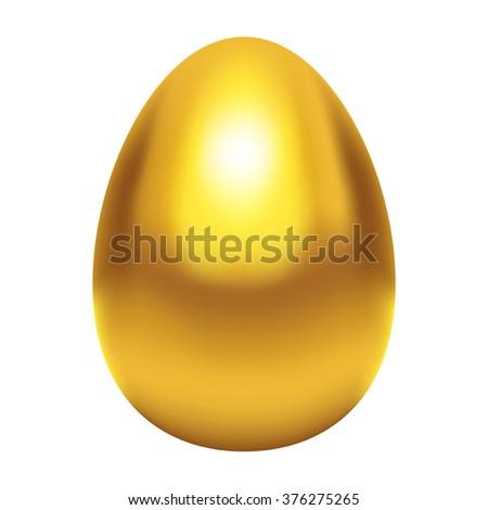 Golden egg, made with gradient mesh in vector format - stock vector