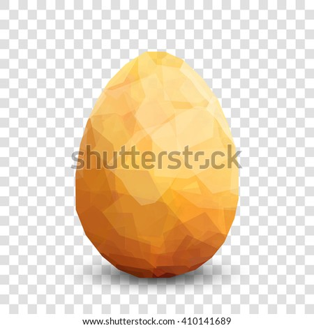Golden egg. Vector egg transparent design template. Modern Vector golden illustration. Premium editable golgen egg template for your design. Isolated Easter egg template on transparent background.  - stock vector