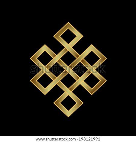 Golden Endless knot. Concept of Karma, Time, spirituality. Vector icon - stock vector