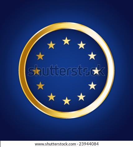 Golden european vector flag - stock vector