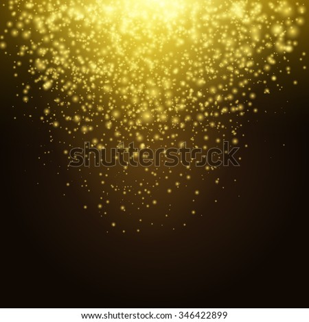 Golden explosion of confetti. Holiday Golden grainy texture on a dark background. Vector Illustration design element.