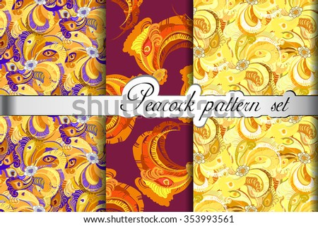 Golden feathers seamless patterns background set. Peacock decorative feathers. Orange yellow design. Endless tiled feathers eyes colorful texture. Brazilian seamless background Vector illustration