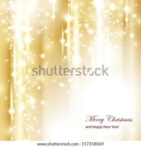 Golden Festive Christmas Background - Vector Illustration, Graphic Design Useful For Your Design - stock vector