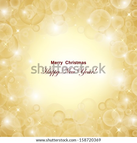 Golden Festive Christmas Background - Vector Illustration, Graphic Design Useful For Your Design - stock vector