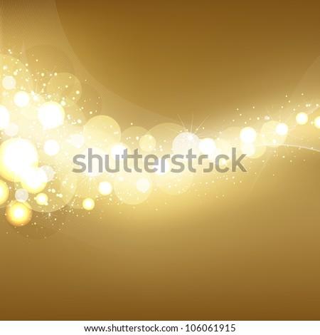 Golden Festive Lights Elegant Background, Vector Illustration - stock vector