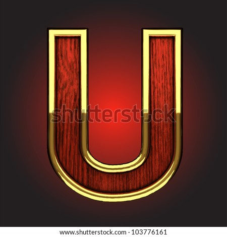 golden figure with red wood made in vector - stock vector