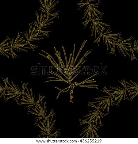 Golden fir branches decor seamless pattern. Vector illustration for your design