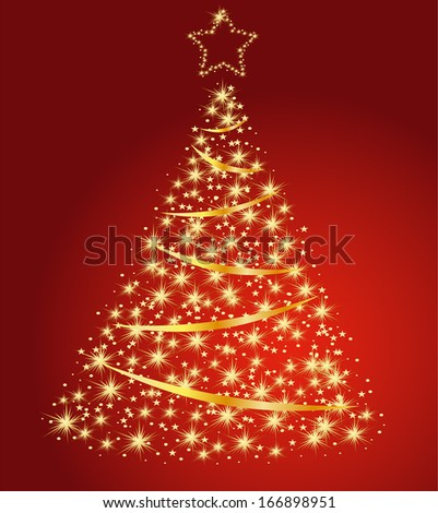 Golden fir on a red background, Christmas tree vector - stock vector