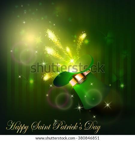 Golden firework in green hat for Saint Patrick's Day - stock vector