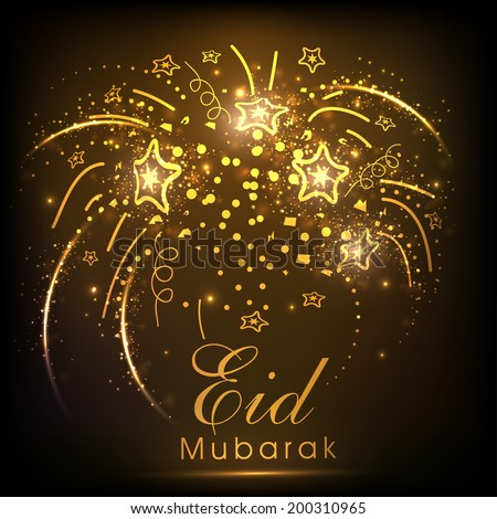 Golden fireworks with stars for celebration of muslim community festival Eid Mubarak.  - stock vector