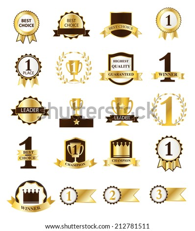 Golden First Place Winner and Best Choice ribbons and badges, vector illustration - stock vector