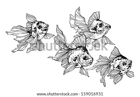 Golden fish in black and white - stock vector