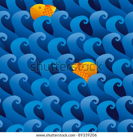 Golden fishes are swimming into a roaring sea seamless pattern. - stock vector
