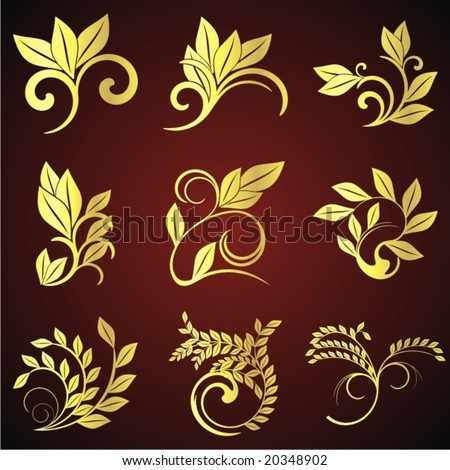 golden floral background - stock vector