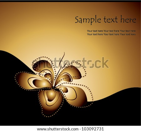 golden floral background with one lily flower, vector illustration - stock vector
