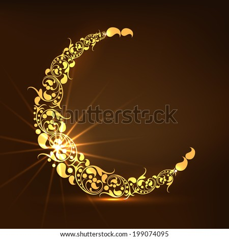Golden floral design decorated crescent moon on brown background for holy month of Muslim community Ramadan Kareem.  - stock vector